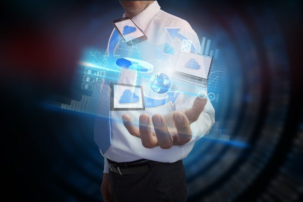 Digital composite of businessman presenting file transfer interface, Elements of this image furnished by NASA.jpeg