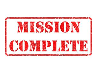Mission Complete - Inscription on Red Rubber Stamp Isolated on White..jpeg